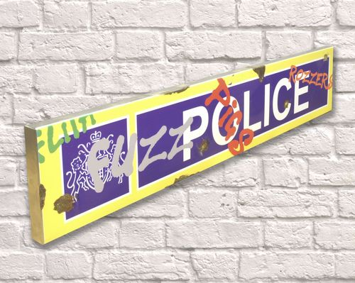 Police Graffiti Rusty Metal Sign 15cm x 79cm